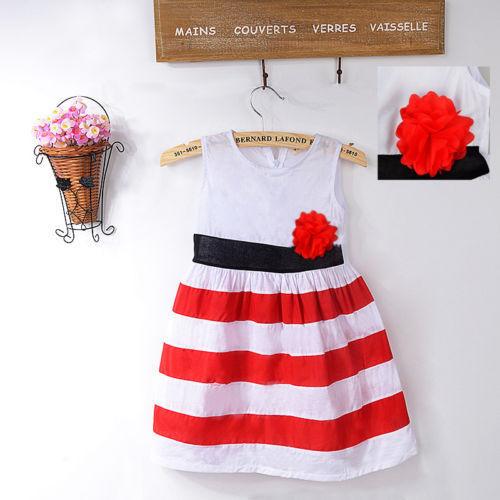 Baby Girls Flower Red&White Stripe Christmas Comforter Princess Vest Dress fashion(China (Mainland))