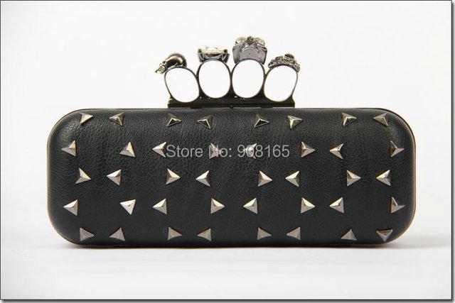 free shipping 2014 new rivet fashion brand women party handbag lady pu clutch evening bag skulls bag BB5715