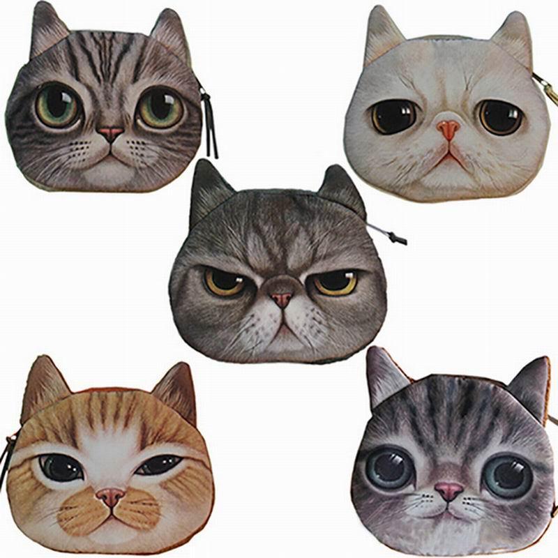 New Womens  Cute Cat Face Zipper Case Coin Money Purse Female children Wallet Makeup Buggy Bag Pouch <br><br>Aliexpress