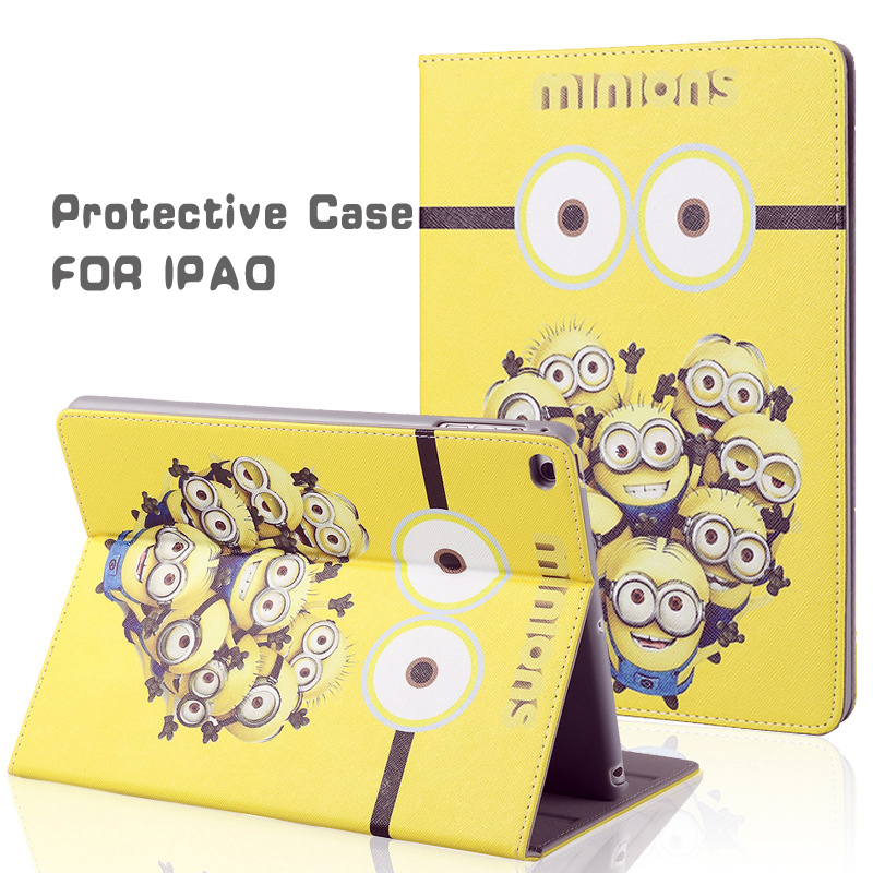 Protective Case for IPAD air 1 2 General Use HD Printing Cartoon Minions Smart Protrctive Case for IPAD air 1 2 Free Shipping.(China (Mainland))