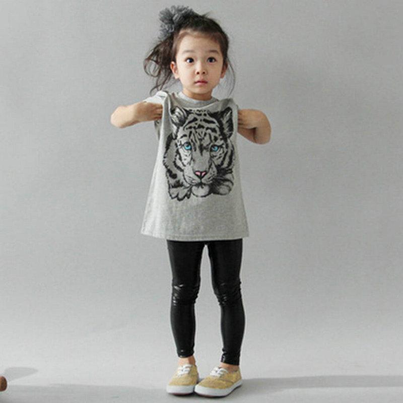 Wholesale 2-7 Y Baby Girls Kids Korean Tiger Printed Casual T-shirt Cotton Blouse Shirt Clothes(China (Mainland))