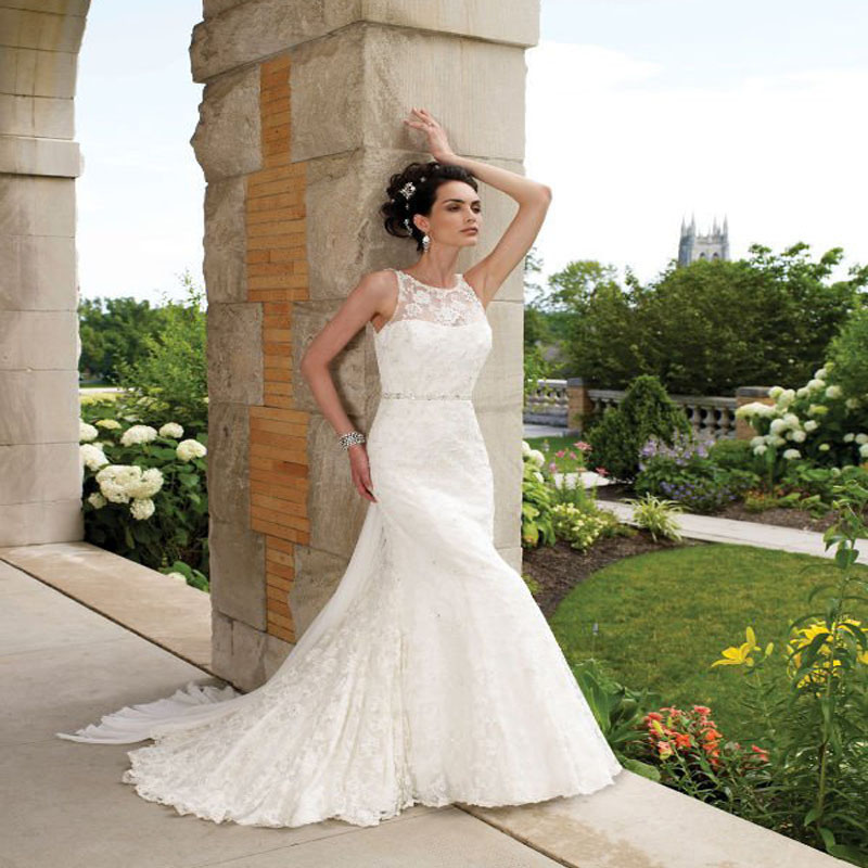 Mermaid wedding dress 2015 lace bridal gowns romantic for Custom mermaid wedding dress