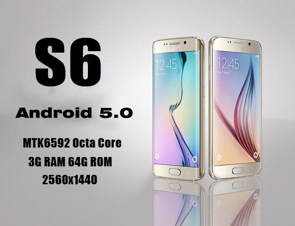 """2015 New Perfect S6 Phone 3GB RAM 64GB ROM Octa Core 5.1"""" MTK6592 Android 5.0 1920*1080 16MP Metal Body Mobile phone s6 edge(China (Mainland))"""