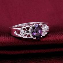 Luxury elegant amethyst 925 Silver Rings Jewelry Ultra affordable Beautiful flowers ring Ms Street beat wild