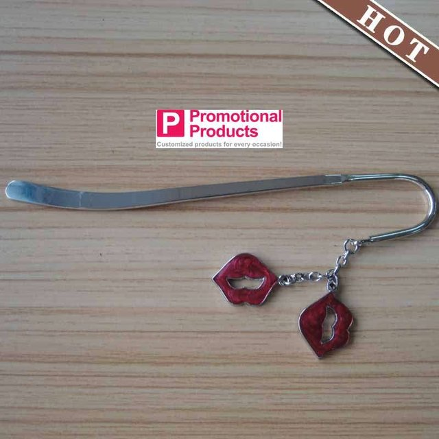 (wholesale or retail )logo printing stylish Bookmark with  charms mouth aliexpress