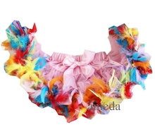 Happy Easter Newborn Baby Light Pink Pettiskirt with Colorful Feather(Hong Kong)