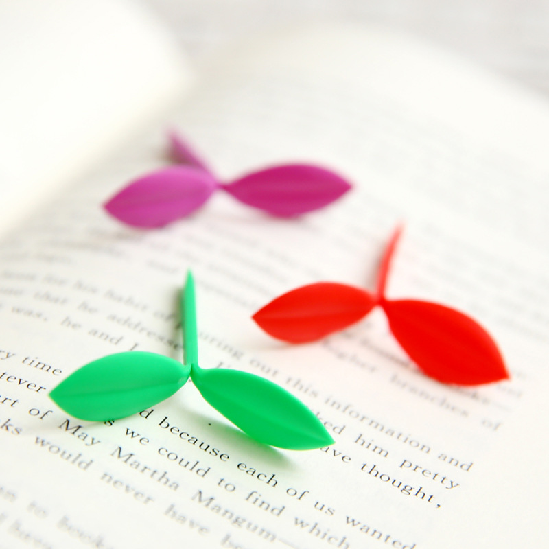6 pcs/lot Creative Cut Small Fresh Green Leaf Buds Gift Mini Bookmarks Page Loaded Clip Multi Stationery office Suppies(China (Mainland))