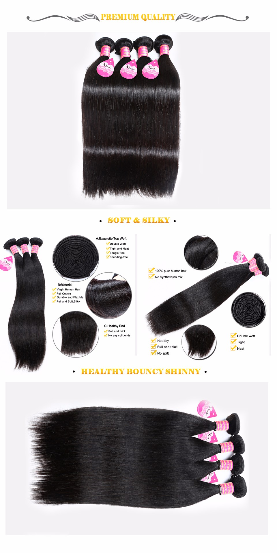 8A Brazilian Virgin Straight Hair Human Hair Cheap Brazilian Hair Extensions Best Virgin Brazilian Straight hair weave Bundles