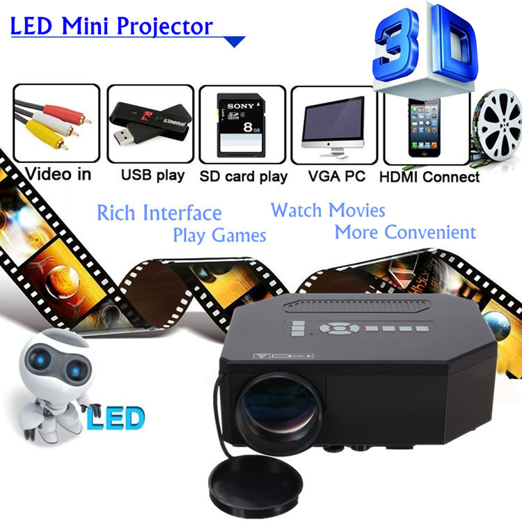 Best Price Newest Home Theater Projector 1200 Lumens HDMI USB Mini 1080P LED Video Portable Proyector FULL HD Gift For Parents(China (Mainland))