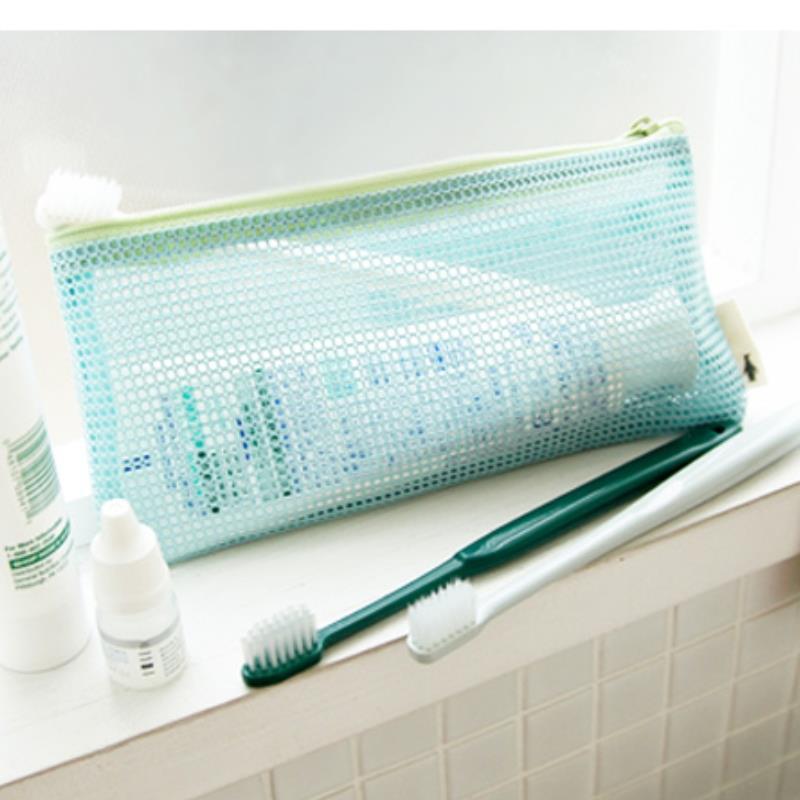 makeup organizer maleta de maquiagem sky blue mesh Travel storage Cosmetic Bag Toiletry Pouch make up bag(China (Mainland))