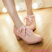 Hot Sweet Lolita Retro Lace Shoes Womens Chunky Lace Up Oxford Shoes(China (Mainland))