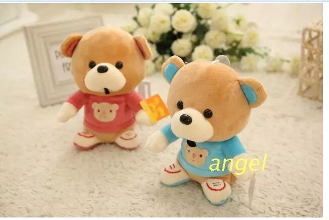 10 pieces cute small plush red&amp;lue coat teddy bear toys lovely teddy bear dolls with shoes gift about 22cm<br><br>Aliexpress