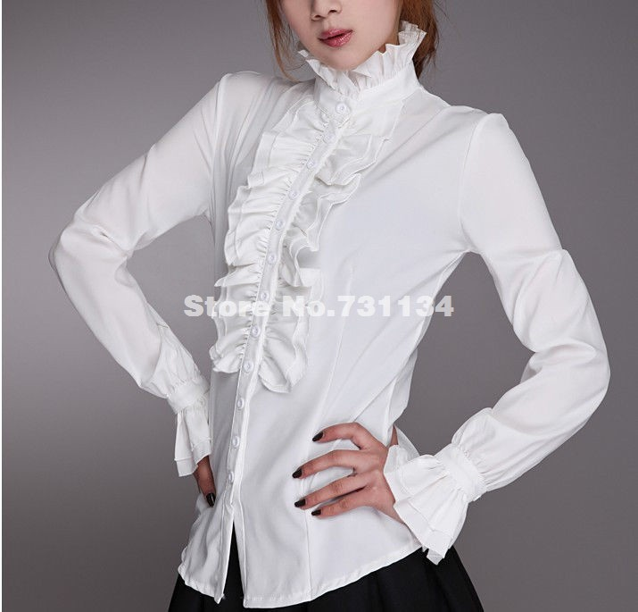 Ladies High Neck Frilly Womens Vintage Victorian Ruffle