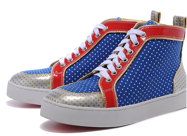 designer men red bottom real leather star patchwork sneakers luxury brand breathable high top casual shoes - goods Brand discount store