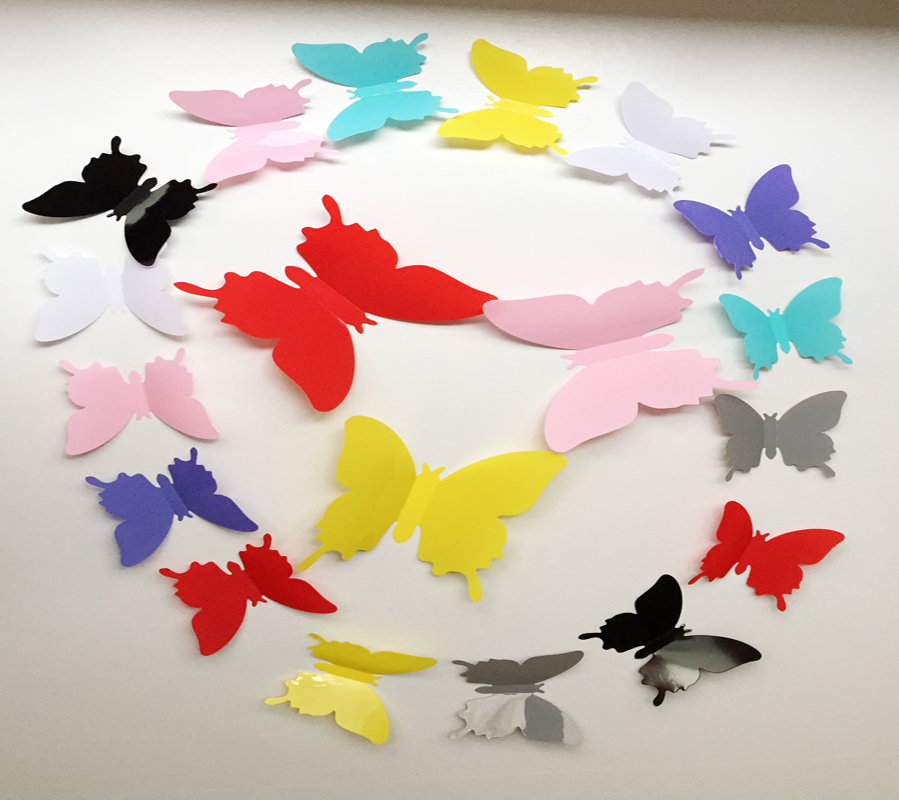 12pcs Hot Wonderful Art Design Decal Wall Sticker Home Decor Black blue red yellow Room Decorations 3D Butterfly wedding decor(China (Mainland))