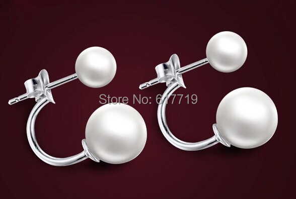 925PE-002 Gold Plated White Round Double Pearl Stud Earrings , Women Jewelry 2014 Birthday Gifts - Greatbuy21 (Min order 10USD store)