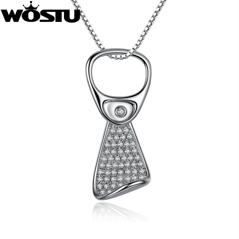 WOSTU 2016 Wholesale AAA Zircon CZ Platinum Plated Pop Can Pendant Necklaces for Women Jewelry(China (Mainland))