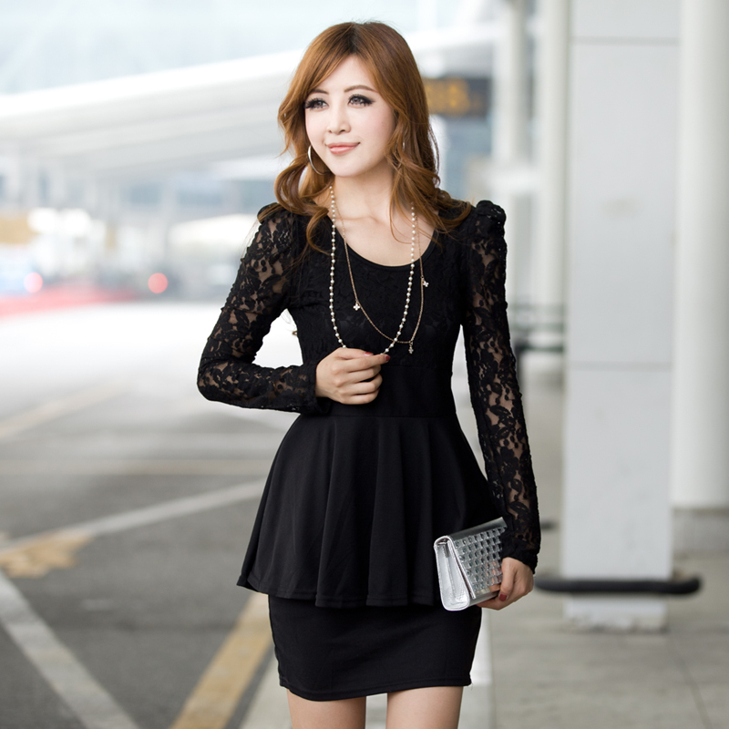 2015 New autumn winter dress Slim thin dress round neck long-sleeved dress women victoria style tights lace cute classic dresses(China (Mainland))