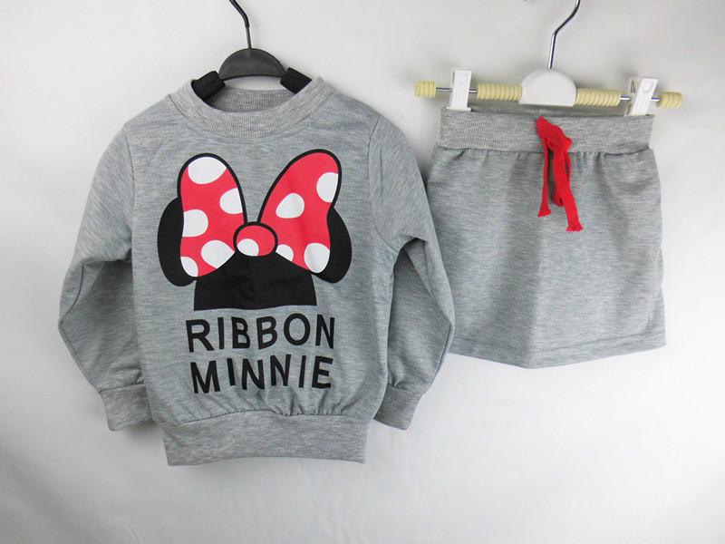 (Lucky Store)2015 minnie kids clothes girls clothing sets baby girl cartoon t-shirt+ skirt 2pcs set(China (Mainland))