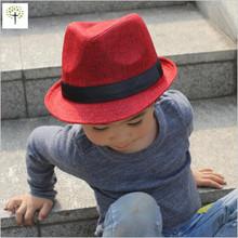2016 spring summer  Linen fedora hat for boys girls children Jazz hat bowler panama hat straw homburg free shipping(China (Mainland))