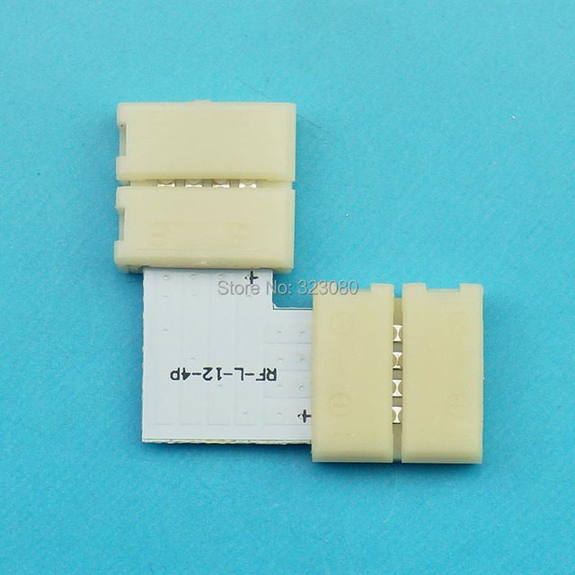 "10pcs/LOT ""L"" shape 4PIN LED Strip connectors 12mm PCB board connection for 5050 RGB LED strip   Fast Connector"