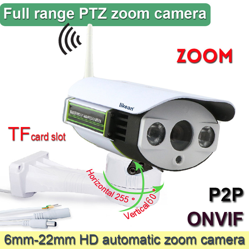 LIKEAN 1280*960P PTZ Wireless Wifi IP Camera outdoor 6-22mm Optical Zoom 1.3MP HD with TF Slot Array IR Low Lux webcam(China (Mainland))