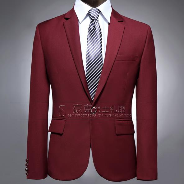 Wine red mens stage clothes slim men suit set pants mens for Wine colored mens dress shirts