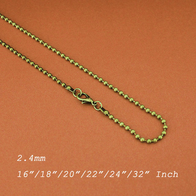 Fashion Links 2.4mm Ball Beads Chains With Lobster Clasps Metal Antique Bronze Plated DIY Findings<br><br>Aliexpress