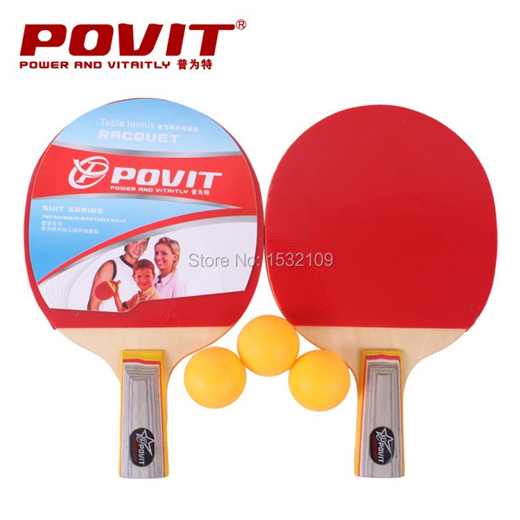 PE-4220 Red/Blue Long Handle Shake-hand Table Tennis Racket Pingpong Rackets Paddle With 3pcs balls(China (Mainland))