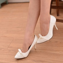Women New fashion shoes 2014 summer autumn Bow Pointed Toe Sexy High Heels Pumps Paint leather Work dress thin heel shoes(China (Mainland))
