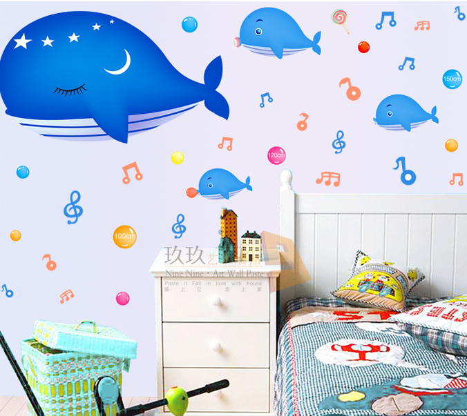 Waterproof wall stickers cartoon stickers of children room bathtub stickers can remove 90827 Whale Baby(China (Mainland))