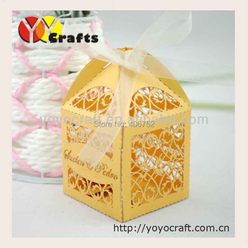 Hot sale!!! high quality pearl paper laser cut party supply wedding favours and gifts box(China (Mainland))
