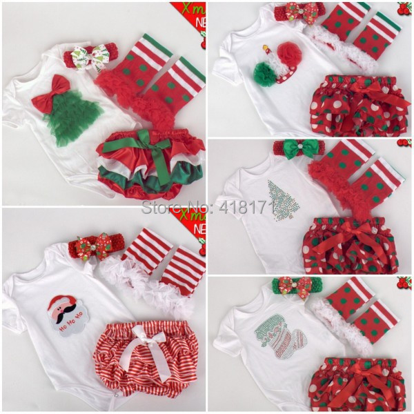 2015New Christmas Festival Baby Infant Clothing Sets Romper+PP Pants+Stockings+Headband 4pcs Sets Boys Girls Gift(China (Mainland))