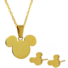 Mickey stainless steel pendant earrings necklaces Jewelry Sets 2014 new women's accessories free shipping No chain
