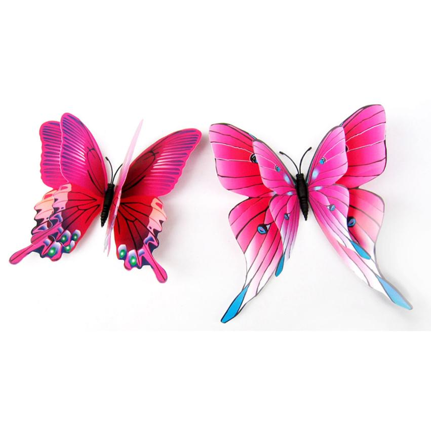 High Quality 12pcsWall Decor 3D Butterfly butterflies Stickers Fridge Magnet Room decoracion pared Decal Applique Freeshipping(China (Mainland))