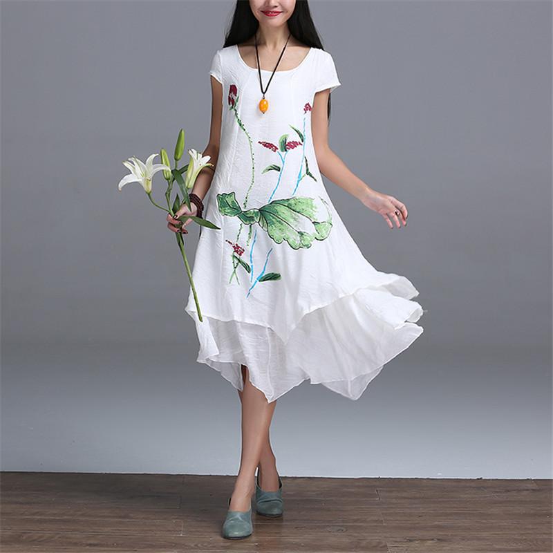New Brand Summer 2016 Pregnant Women Dress Cotton Linen Flower Loose Casual Fashion White Dresses Ruffles