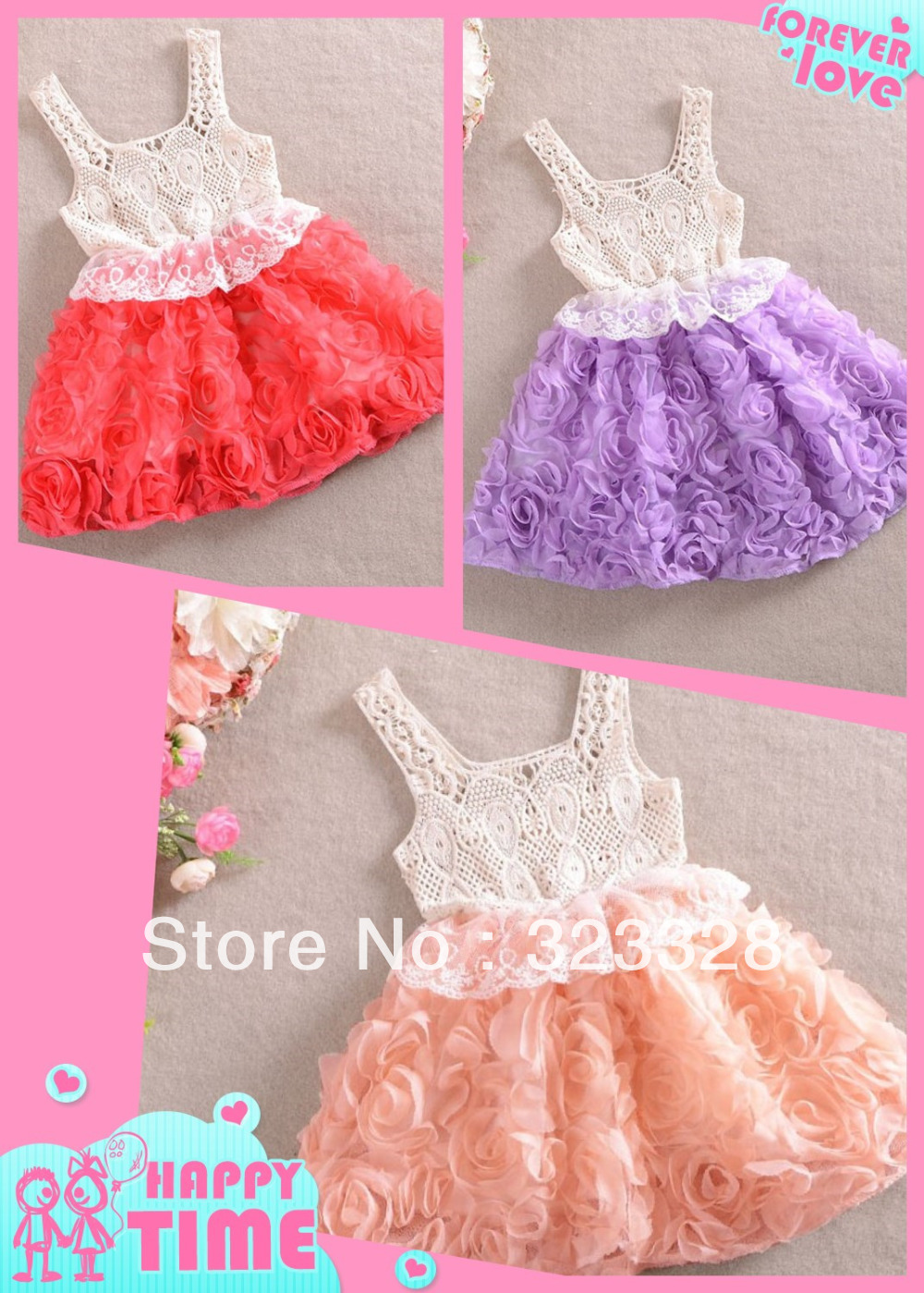 Retail 2014 Fashion Baby Girl Dresses Rose Children red purple pink Lace Flower Dress Princess Kids Sling Dess Free shipping(China (Mainland))