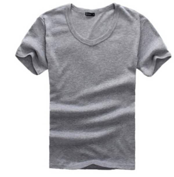 New Fashion Men Slim Fit Cotton V Neck Short Sleeve Casual T Shirt Tops hot No