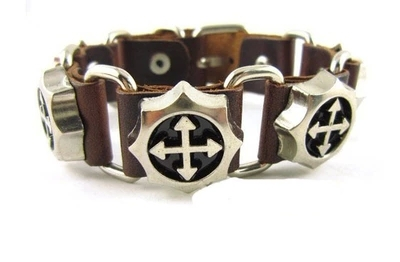 New Fashion Man Leather Bracelet Alloy Cross Saints Rosary Religious For Best Friends free shipping Euro(China (Mainland))