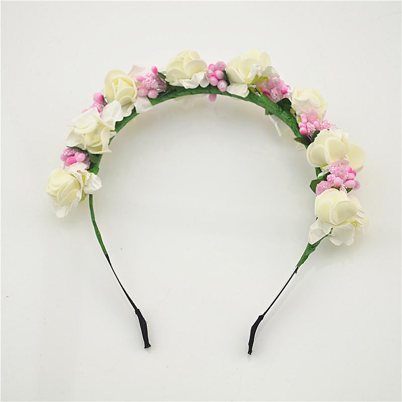 Stylish Women Girls Floral Headband Bohemia Hair Band Flower Garland Wedding Prom Head wrap Hair Accessories Gift 1pcs(China (Mainland))