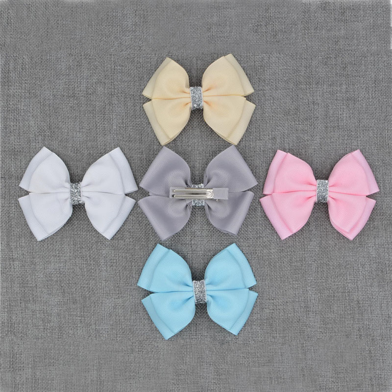 Handmade Ribbon barrettes Clips Boutique girl women Shining bling Hair Bows With Clip Hairpins For Kids Girl Hair Accessories(China (Mainland))