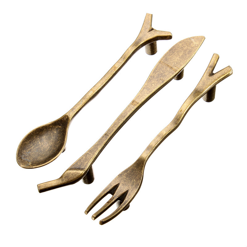 3pcs bronze spoon knife fork kitchen cabinet handles for 3 kitchen cabinet handles