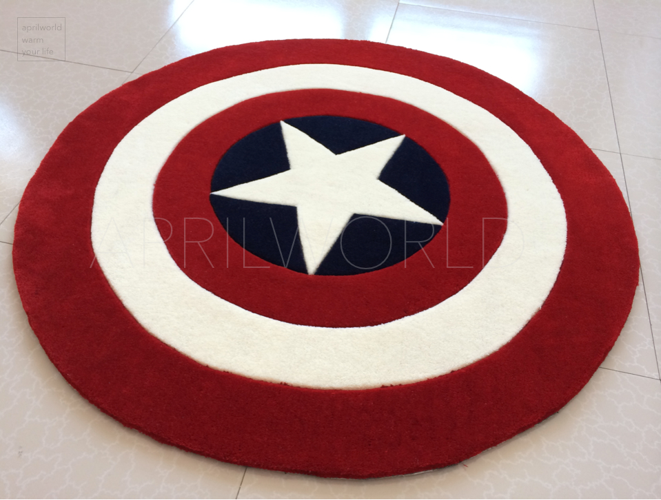 personnalit captain america bouclier tapis tapis couverture ronde main paississement tapis. Black Bedroom Furniture Sets. Home Design Ideas
