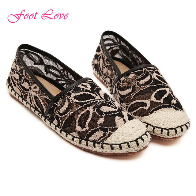 Квартир женщин мода женщины лето круглый носок сетки женщин на плоской подошве сексуальные кружева соломы рыбак обувь размер 35 - 40
