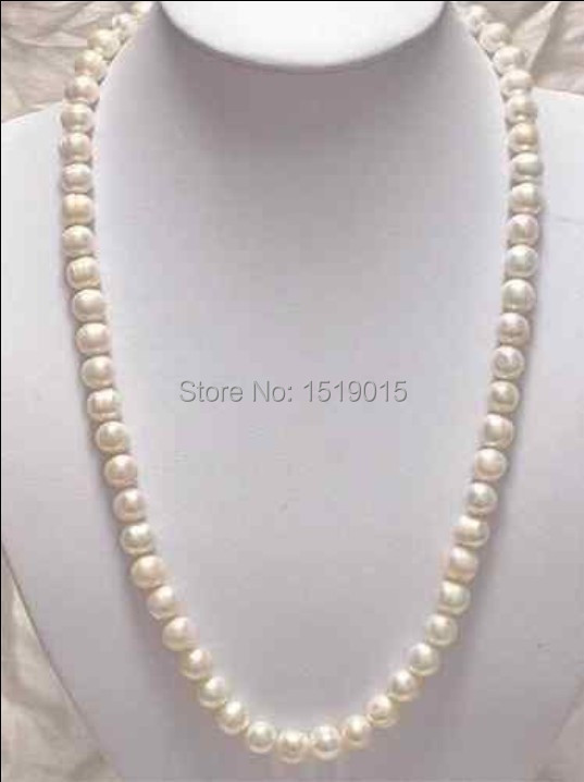 "14K Solid Gold Clasp8-9MM White Akoya Pearl Necklace 25"" Fashion jewelry 1136(China (Mainland))"