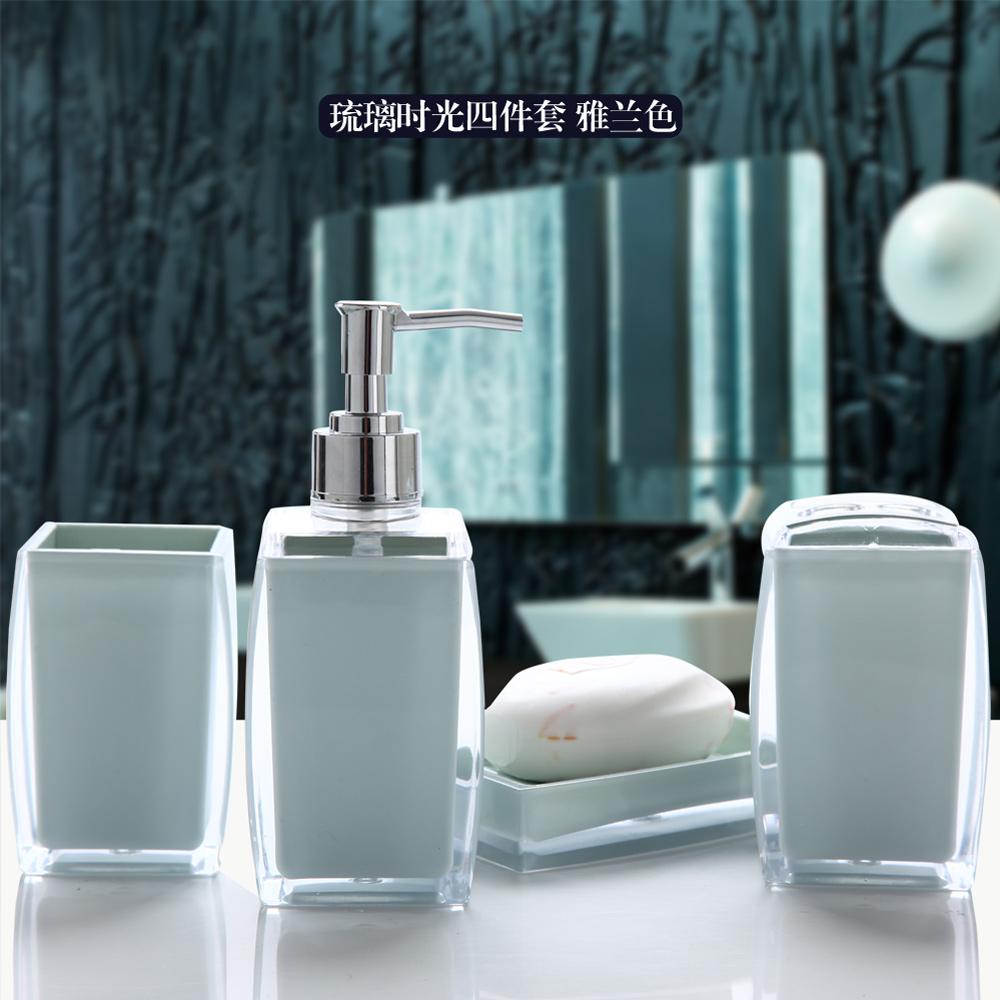 Simple Solid colorr Double deck acrylic Bathroom set fashion brief acrylic bathroom accessories bathroom four/five piece set(China (Mainland))