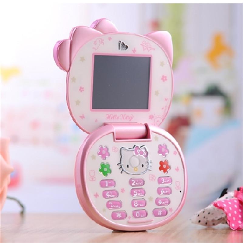 2015 Original Newest K688 Hello kitty Cartoon Mobile phone for kids children Dual SIM standby Flip Fashion Russian cell phones(China (Mainland))