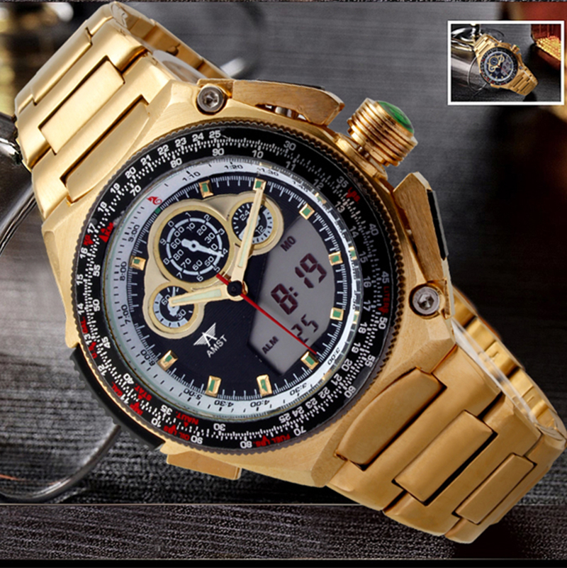 AMST Gold Watch Men Watches Top Brand Luxury Famous 2016 Wristwatch Male Clock Golden Quartz LED Display Clock Relogio Masculino(China (Mainland))