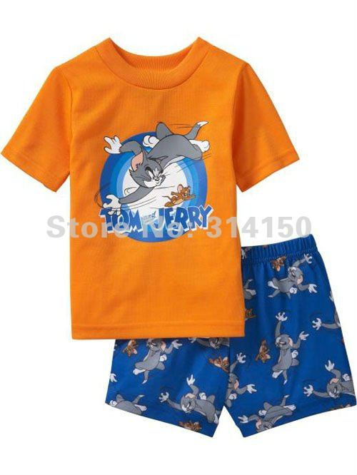 FREE SHIPPING-- baby nightwear short sleeve sets pajamas set leisure wear boy nightclothes cartoon Tom and Jerry design 1set/lot(China (Mainland))