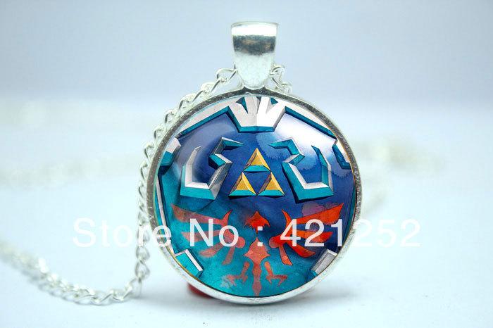 10pcs/lot Legend of Zelda Syward Sword Hylian shield Skyloft shield inspired glass cabochon dome pendant necklace(China (Mainland))